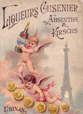 Liqueurs Cusenier pricing card