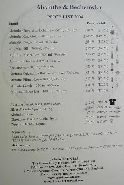 Absinthe and Becherovka list from La Boheme