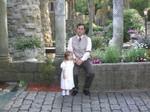 Ella and John in the courtyard
