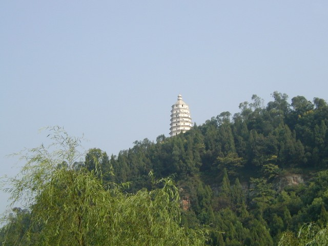 White pagoda in the distance