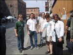 crew in downtown Bologna