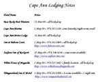15-May-04 - Cape Ann Lodging Notes
