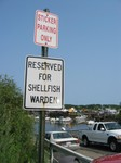 Reserved for Shellfish Warden sign