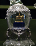 Faberge egg with horse and rider inside