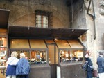 bottle bottoms and metal frame storefront on Ponte Vecchio
