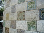 Wall of plates in mosaic
