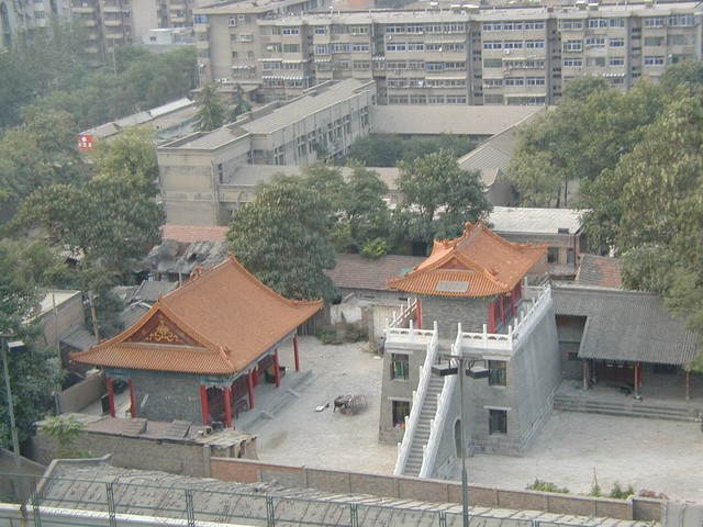 Detailed view of courtyard below hotel room