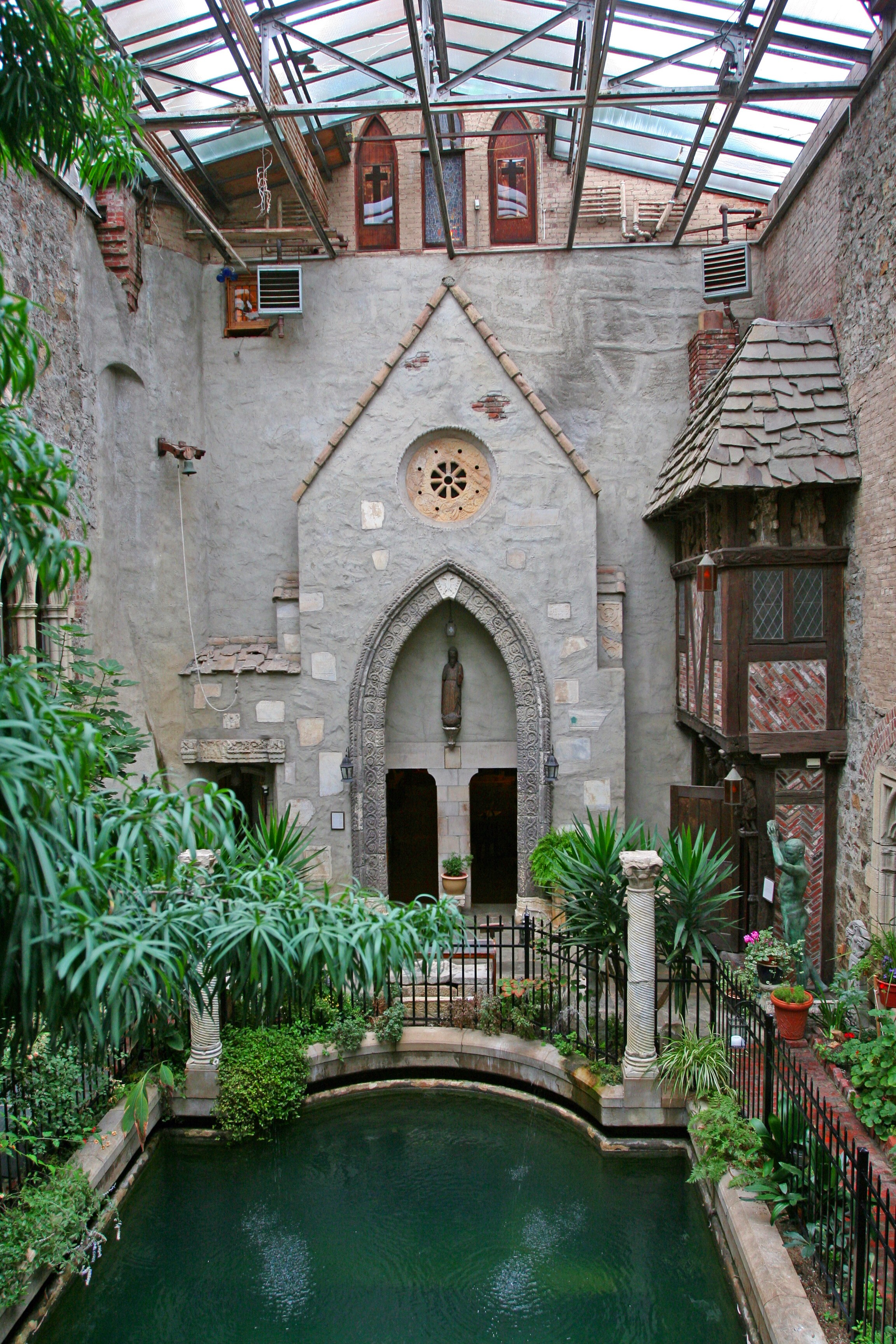 Sakis World The Atrium Pool At Hammond Castle View From Bridge Between Courtyard And Gothic Bedrooms