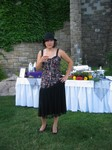 Lisa strikes a pose with a parfait of rose sparkling wine