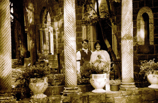 Joe and Ren in the courtyard in sepia