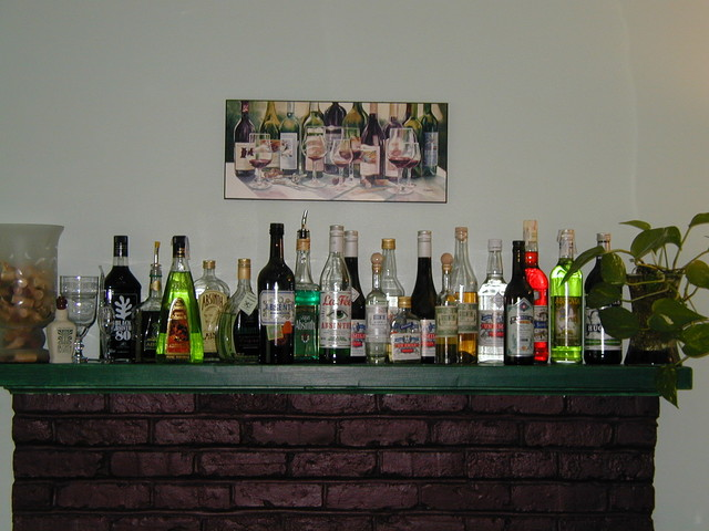 the Absinthe mantel at Chez Saki