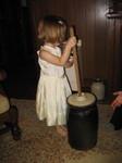 Ella churns butter