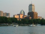 jeff wades snaps the Pru on the Charles River