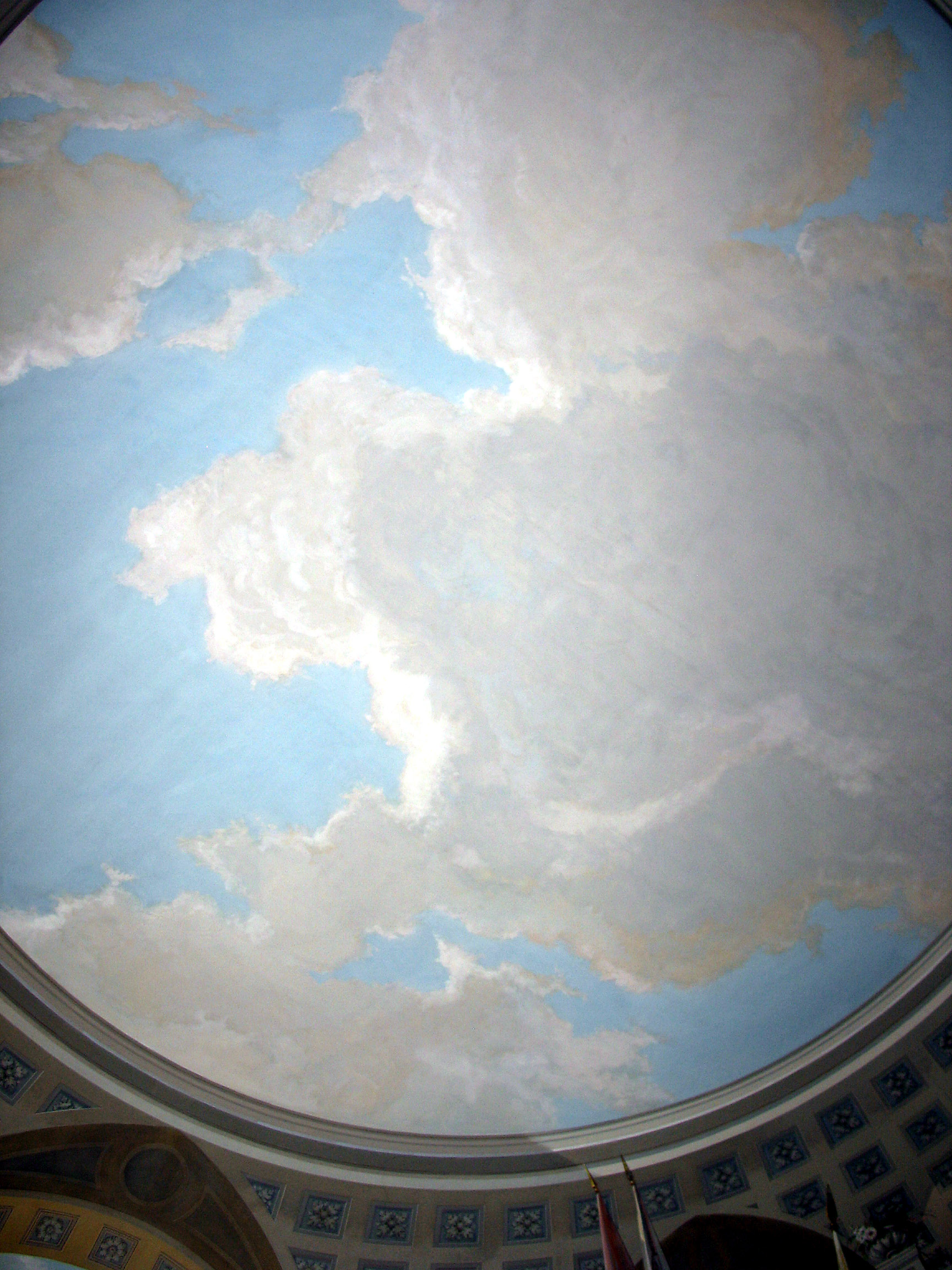 Saki 39 s world pavlovsk palace clouds painted on for Ceiling cloud mural