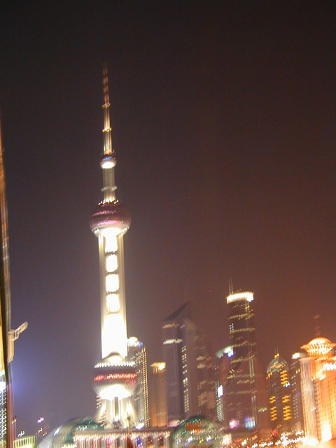 Fuzzy Oriental Pearl TV Tower viewed rooftop