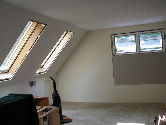 four of the five new windows in the master bedroom