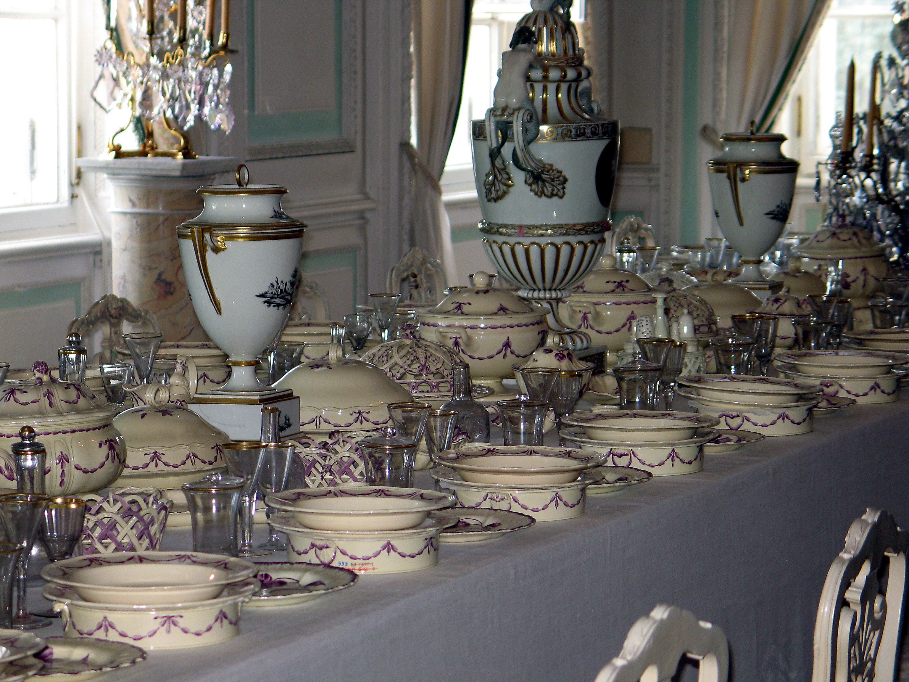 World great peterhof palace purple china in white dining room