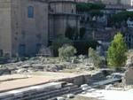 facing Senate House aka Curia with Basilica Aemilia ruins in foreground