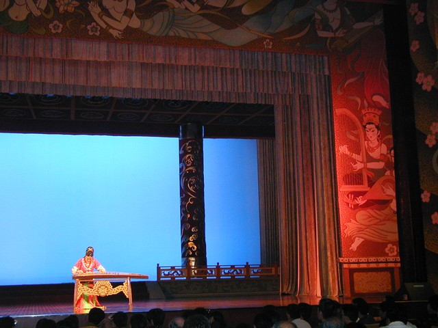 Right of stage has Tang Dynasty art