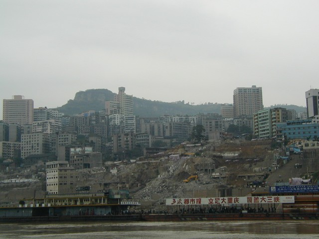 Dismantling buildings at the River's edge