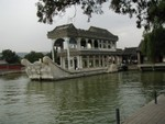 Lovely view of the Marble Boat, Qingyanfang, at dock