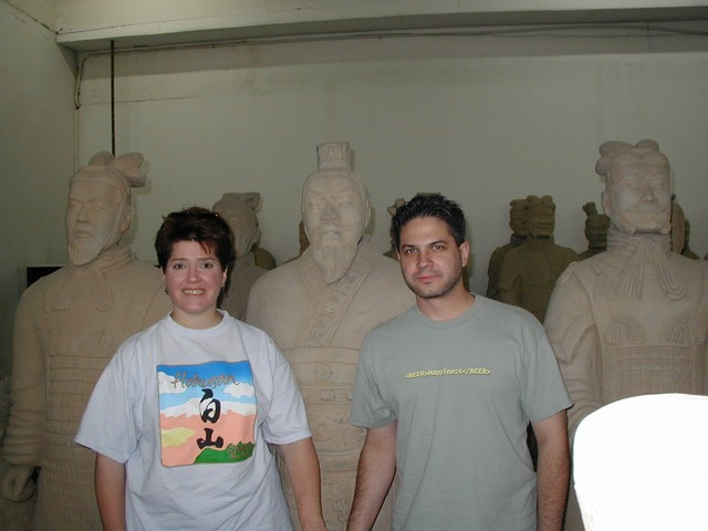 Ren & Joe at the Terra Cotta Warrior factory