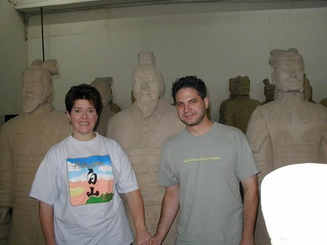 Ren & Joe strike a pose at the Terra Cotta Warrior factory