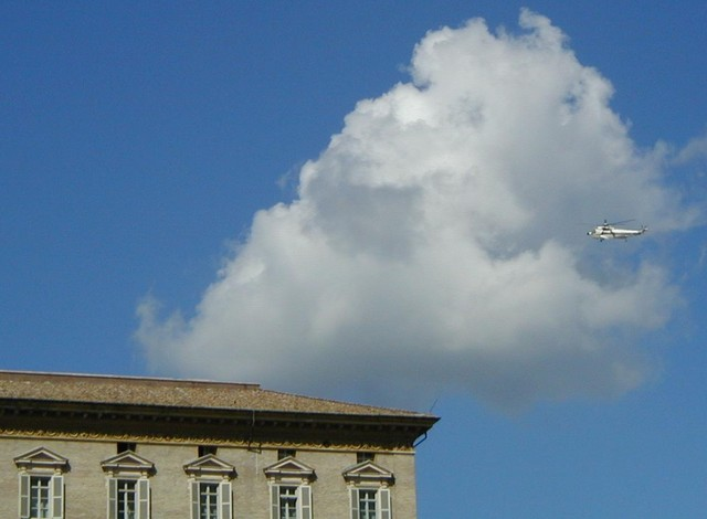 Pope in his helicopter flying in for audience