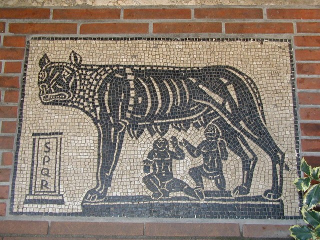 Remus and Romulus reproduction near Basilica