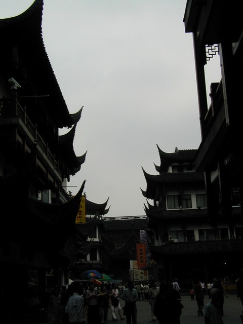 It is a shame this snap turned out so dark.  Beautiful courtyard near Yuyuan Garden.