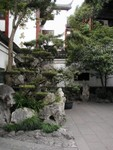 Rocks piled ornately in a courtyard