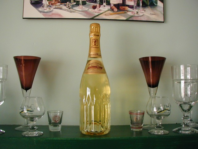 wedding champagne on mantle
