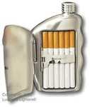 Stainless steel 5.5 oz with built-in cigarette case