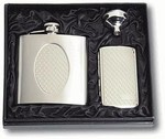 stainless steel 6 oz flask and double sided cigarette case