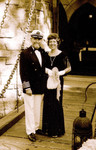 Jim and Connie Nowlin on the drawbridge in sepia