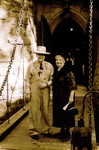 RL and Vickie on the drawbridge in sepia