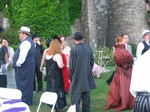 gathering on the back lawn before the ceremony